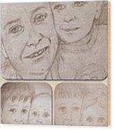 Collage Portraits Wood Print