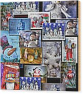 Collage Xmas Cards Vertical Photo Art Wood Print