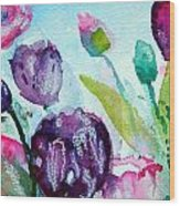 Collecting Pink And Purple Tulips Wood Print