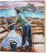 Collecting Salt At Xwejni Gozo Wood Print