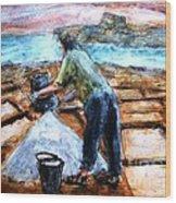 Collecting Salt At Xwejni Gozo Wood Print by Marco Macelli