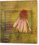 Collective Poem With Echinacea Flower Wood Print