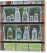 Collector - Bottles - Milk Bottles  Wood Print by Mike Savad