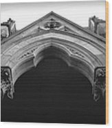 College Hall Entry - Black And White Wood Print