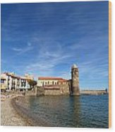 Collioure Beach And Bell Tower Wood Print