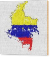 Colombia Painted Flag Map Wood Print