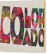 Colorado Typographic Watercolor Map Wood Print