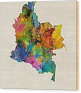 Colombia Watercolor Map Wood Print