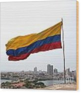 Colombian Flag Over Cartagena Wood Print