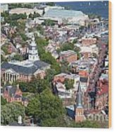 Colonial Annapolis Historic District And Maryland State House Wood Print