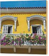 Colonial Balcony In Cartagena Wood Print