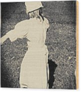 Colonial Girl Playing Wood Print