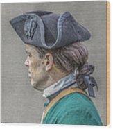 Colonial Soldier Green Jacket Portrait Wood Print