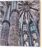 Colonnade And Stained Glass No2 Wood Print