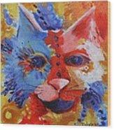 Color Cat Wood Print