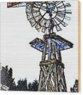 Color Drawing Antique Windmill 3005.05 Wood Print