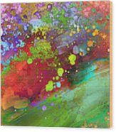Color Explosion Abstract Art Wood Print by Ann Powell
