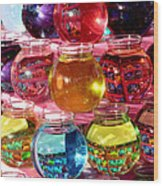 Color Fish Bowls Wood Print