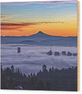 Color Fog Mountain Wood Print