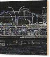 Color Pencil - Visitors On Viewing Plaza On Singapore River Next To The Merlion Wood Print