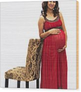 Color Portrait Young Pregnant Spanish Woman Leaning On Chair Wood Print