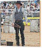 Color Rodeo Shootout Gunslinger Wood Print