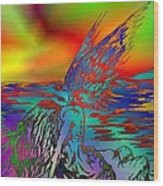 Color Tempest Angel On Rocks Wood Print