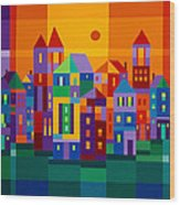 Color Town Wood Print