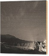 Colorado Chapel On The Rock Dreamy Night Sepia Sky Wood Print