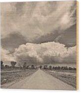 Colorado Country Road Sepia Stormin Skies Wood Print