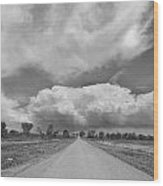 Colorado Country Road Stormin Skies Bw Wood Print