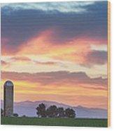 Colorado Farmers Sunset Wood Print