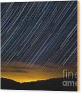 Colorado Mountain Startrails Wood Print by Benjamin Reed