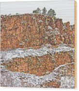 Colorado Red Sandstone Country Dusted With Snow Wood Print