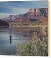 Colorado River Fisherman Wood Print