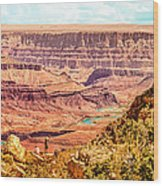 Colorado River One Mile Below And 18 Miles Across The Grand Canyon  Wood Print