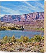 Colorado River Upstream From Boat Ramp At Lee's Ferry In Glen Canyon National Recreation Area-az Wood Print