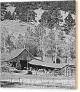 Colorado Rocky Mountain Barn Bw Wood Print