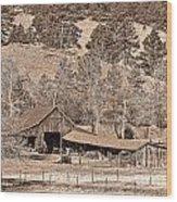 Colorado Rocky Mountain Barn Sepia Wood Print