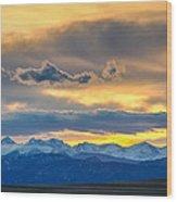Colorado Rocky Mountain Front Range Sunset Gold Wood Print