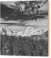 Colorado Rocky Mountain View Black And White Wood Print