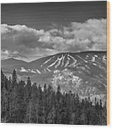 Colorado Ski Slopes In Black And White Wood Print