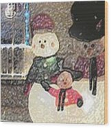 Colorado Snowman Family 1 12 2011 Wood Print