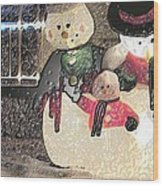 Colorado Snowman Family 2 12 2011 Wood Print