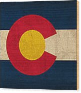 Colorado State Flag Art On Worn Canvas Wood Print by Design Turnpike