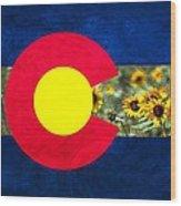 Colorado State Flag In Van Gogh Wood Print