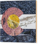 Colorado State Flag With Mountain Textures Wood Print by Aaron Spong