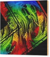 Colored Abstract Art Wood Print by Mario Perez