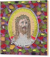 Colored Background Jesus Wood Print