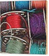 Colored Bobbins - Seamstress - Quilter Wood Print